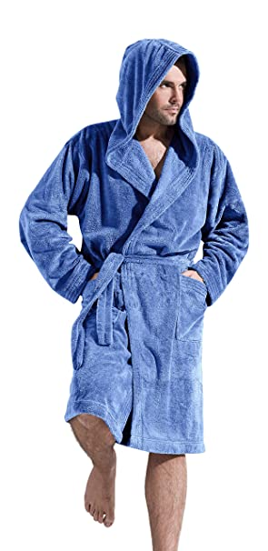 L L Company Mens Luxury Soft Warm Hooded Dressing Gown Bathrobe Housecoat  Knee Length  Amazon.ca  Clothing   Accessories d92bae929