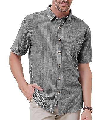 236348c759 PAUL JONES Men's Casual Slim Fit Short Sleeve Striped Button Down Shirts  Size S Black