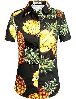 f78c927c90f2 SSLR Women s Flamingos Floral Casual Short Sleeve Hawaiian Shirt at ...