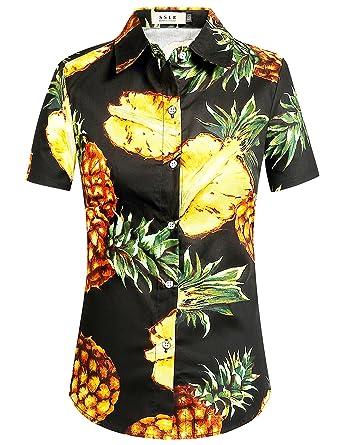 252dd230bf SSLR Women s Pineapple Button Down Short Sleeve Cotton Hawaiian Shirts  (X-Small
