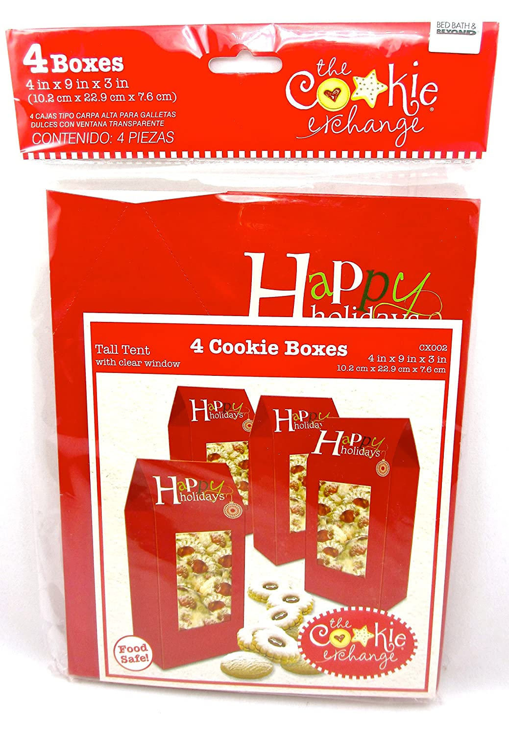 Amazon.com: Christmas Cookie Boxes,cardboard,Food Safe (4 Cookie Boxes, Red Small Carry-All Trees): Health & Personal Care