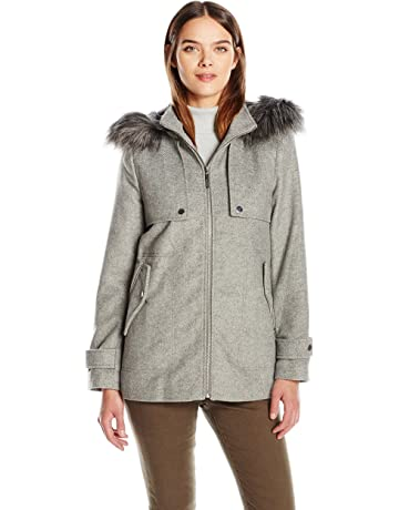b92542c5d4887 kensie Women's Short Duffle Coat with Front Plackets and Faux Fur Trimmed  Hood