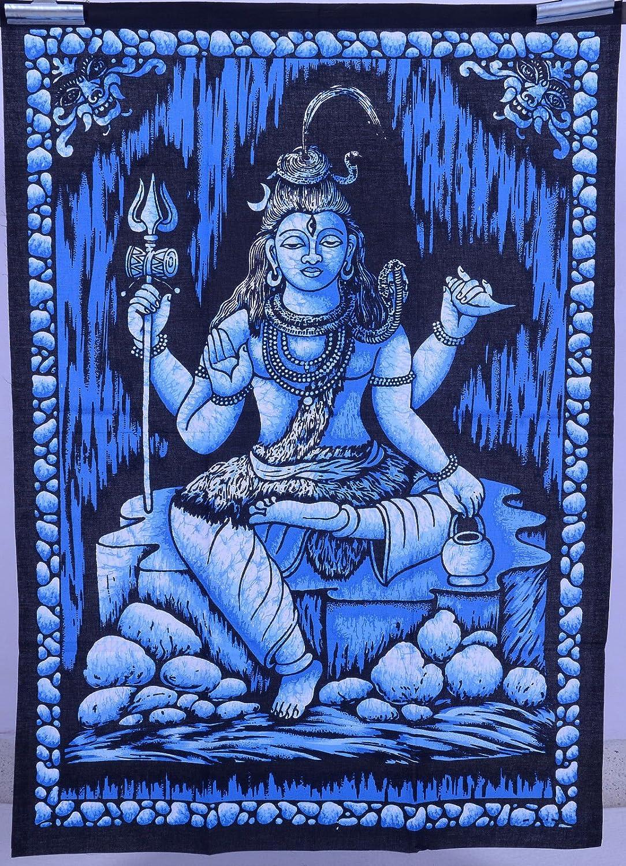 Grand Dancing Shiva Natraj fabriqué à la main Coton Indien screenprint Suspension Murale 110cm x 88cm