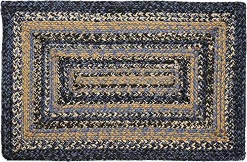 IHF Home Decor River Shale Rectangle Jute Braided Area Rug Indoor Outdoor Kitchen Accent Flooring Carpet Blue, Black, Tan Natural Fiber 20 x30 to 8 x10 36 x60