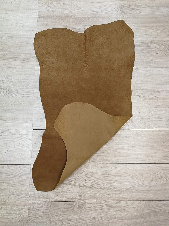 Piel Natual Pieles de Cuero Natural Piel para Artesanos Retales de Piel Manualidades Medidas: 105x65 cm 6 pies. Color: camel Zerimar Piel Cuero