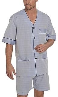 El B/úho Nocturno Herren Karierter Zweiteiliger Pyjama mit kurzen /Ärmeln und gekn/öpfte Jacke Popelinestoff Klassische Nachtw/äsche f/ür M/änner 100/% Baumwolle Schlafanzug