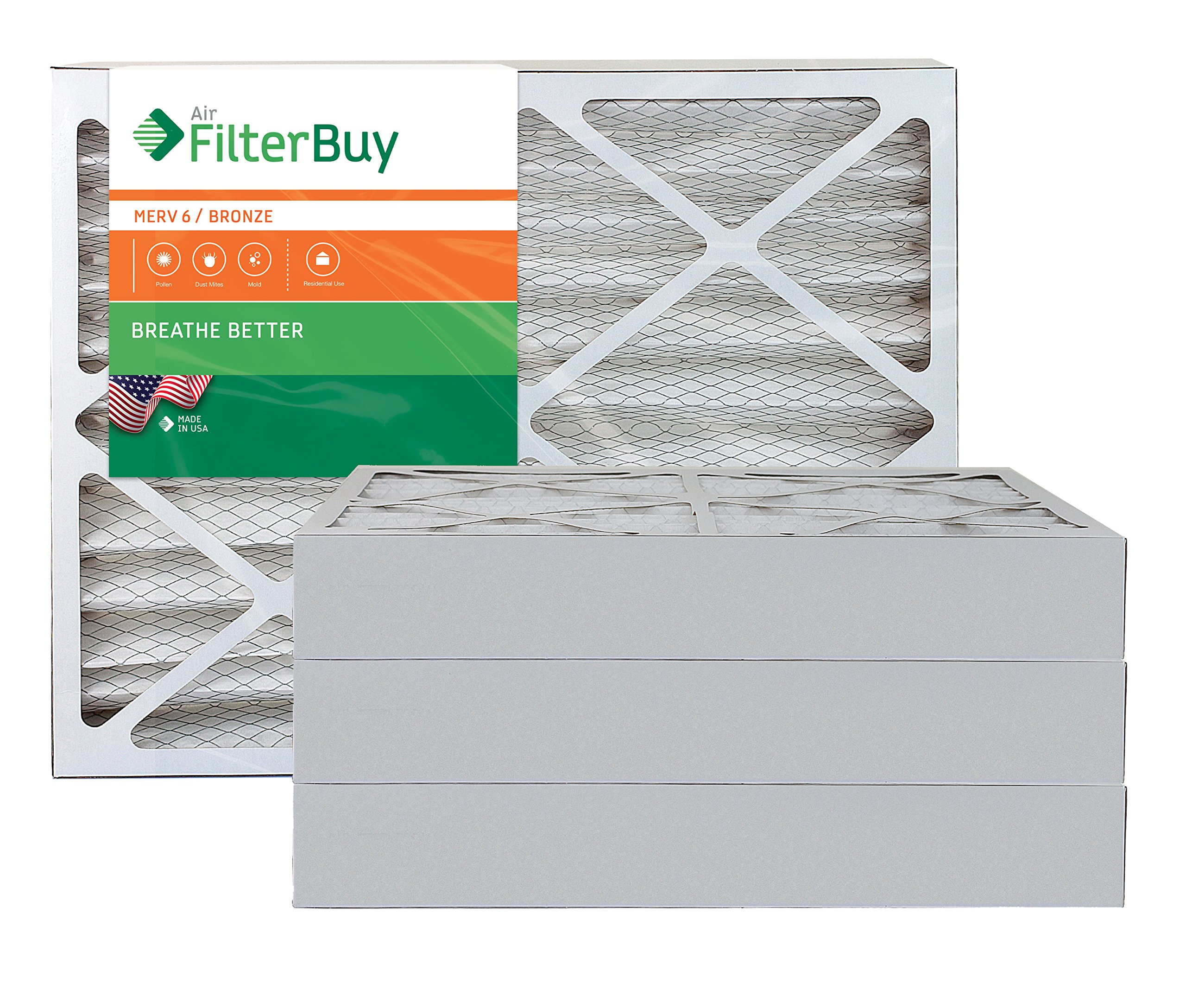 AFB Bronze MERV 6 28x30x4 Pleated AC Furnace Air Filter. Pack of 4 Filters. 100% produced in the USA. by FilterBuy