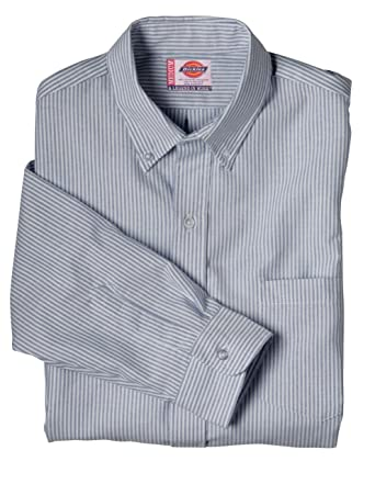 8d9644e1 Image Unavailable. Image not available for. Color: Dickies Ss36 Long Sleeve  Button-Down Oxford Shirt-Blue White Stripe-135