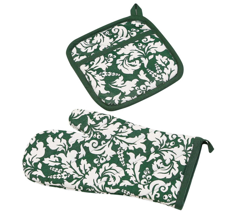 Yourtablecloth Set of Oven Mitt and Pot Holder or Oven Gloves – 100% Cotton, High Heat Resistance, Superior Protection & Comfort – Elegant Design – Machine Washable-Black DOMP -BLK-YT