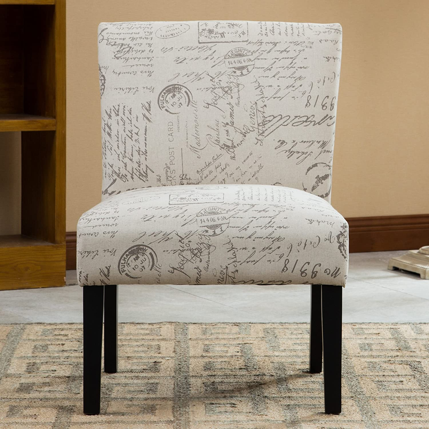 amazoncom roundhill furniture botticelli english letter print  - amazoncom roundhill furniture botticelli english letter print fabricarmless contemporary accent chair single kitchen  dining