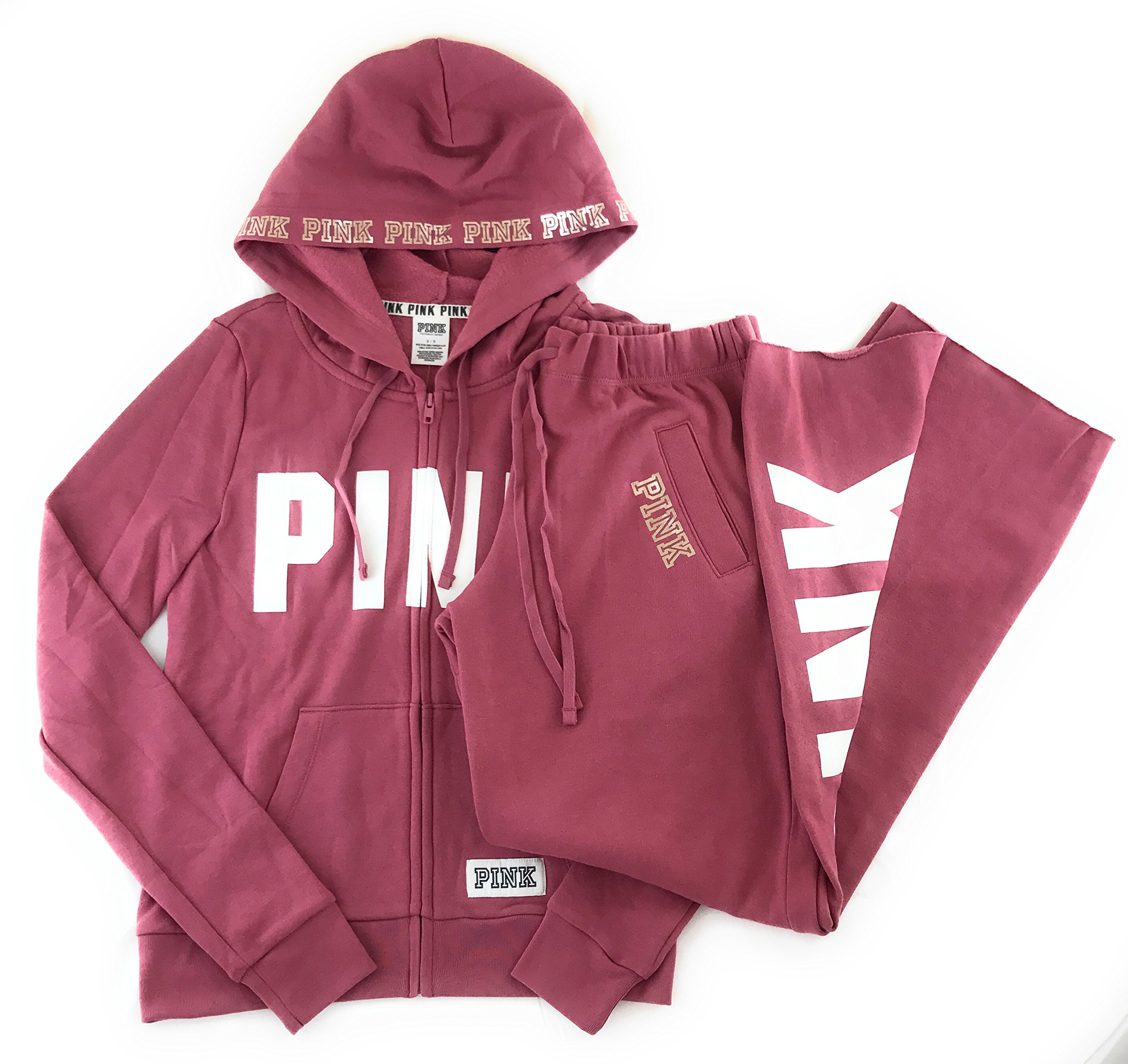 Victoria's Secret Pink Hoodie and Sweat Pants Set Soft Begonia Small