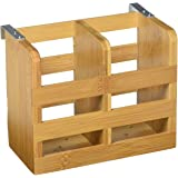 "Lipper International 8823 Bamboo 2-Compartment Flatware Holder with Metal Clips, 6-1/4"" x 3-1/4"" x 5"""