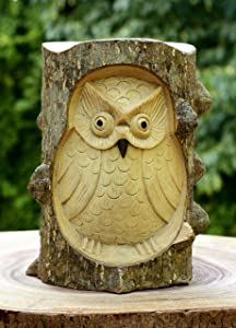 G6 Collection Unique Handmade Wooden Owl from Crocodile Wood Statue Figurine Hoot Sculpture Art Decorative Rustic Home Decor Accent Handcrafted Decoration Owl Crocodile Wood