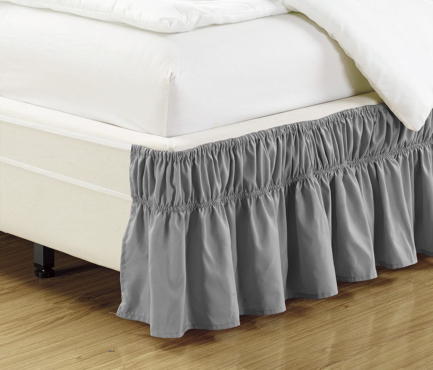 Mk Collection Wrap Around Style Easy Fit Elastic Bed Ruffles Bed-Skirt Queen-king Solid Grey