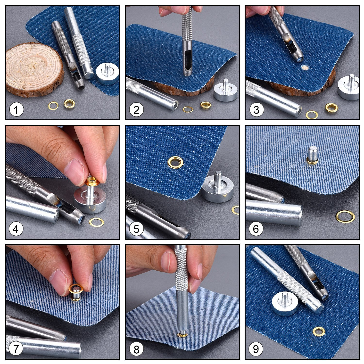 and Hollow Hole Punch for Leathercrafts 12mm Eyelets Grommets Setting Fixing Punch Tool Kit Only Jeans Base Vinyl Banners Punch Set of 3 Scrapbooking and Arts /& Craft Projects