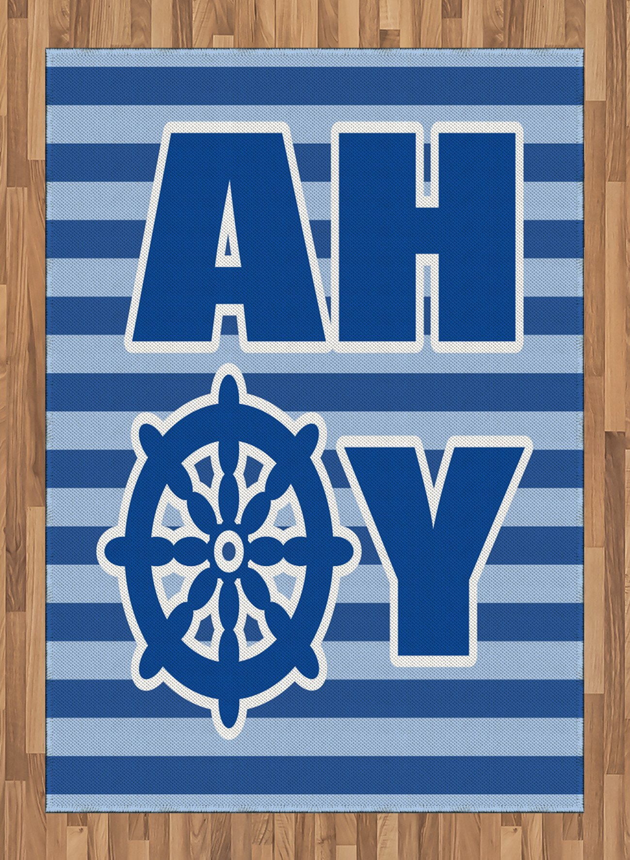Ahoy Its a Boy Area Rug by Ambesonne, Ahoy Written with Nautical Wheel Striped Nursery Wall Art Design, Flat Woven Accent Rug for Living Room Bedroom Dining Room, 5.2 x 7.5 FT, Blue Pale Blue White