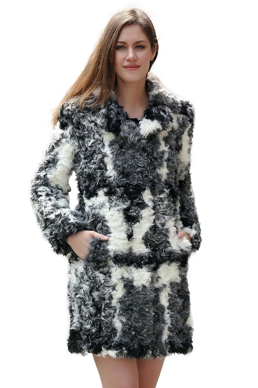 Adelaqueen Fabelhafter Schwarz Weiß Und Grauer Faux Fur Wolle Damenmantel Mit Fallendem Revers