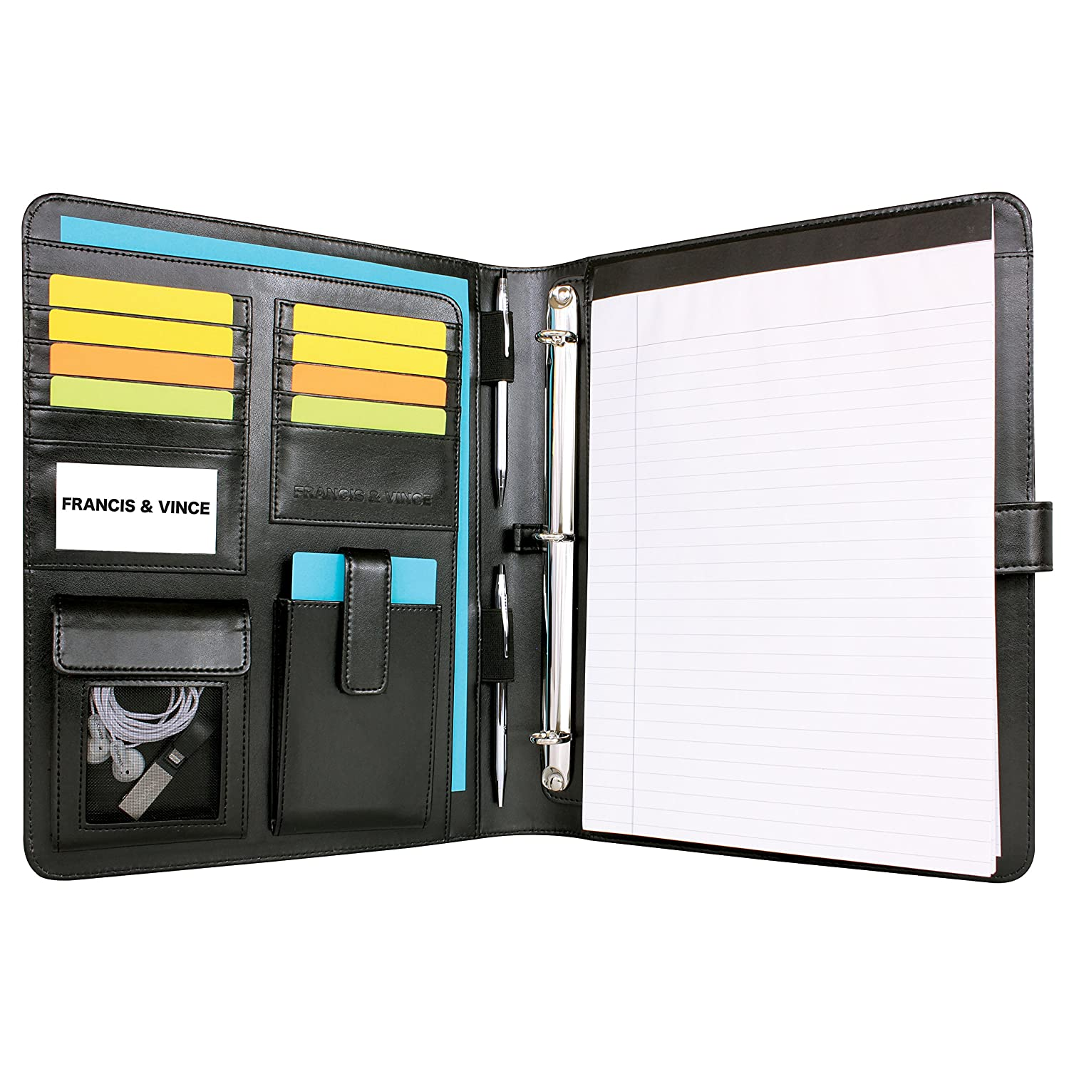 Refoc Handcrafted PU Leather Removable 3-Ring Binder Padfolio with Notepad and Presentation Sheet Protectors