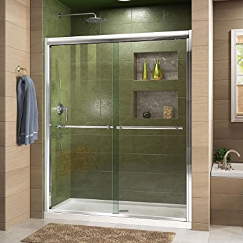 DreamLine Duet 32 in. D x 60 in. W Semi-Frameless Bypass Shower Door ...