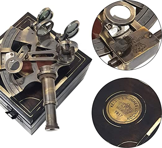 """Sextant Instrument Real Heavy Sextant with Wooden Box/""""Kelvin /& Huges/"""" Sextant"""