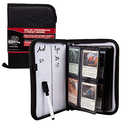 Trading Card Binder w 2 Built-in Dry Erase Boards- Premium Leather Grip Cover w Zipper Closure and Marker Included- 4 Pocket 160 Card Album for Magic The Gathering, MTG, All TCGs, Pokemon, Yugioh: Office Products
