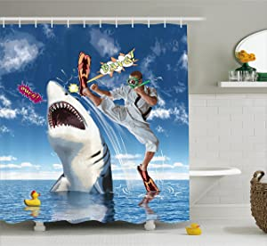 "Ambesonne Sealife Shower Curtain, Unusual Marine Navy Life Animals Fish Sharks with Karate Kid and Comics Balloon Art, Fabric Bathroom Decor Set with Hooks, 69"" W By 70"" L, Multi 7"