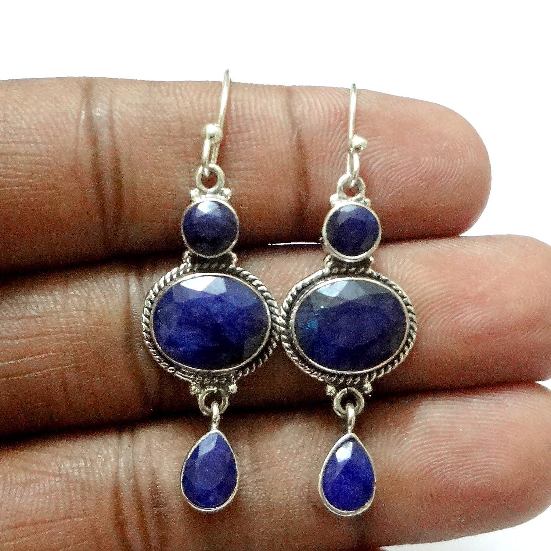 Lapis Lazuli Solid 925 Sterling Silver Drop Dangle Earrings