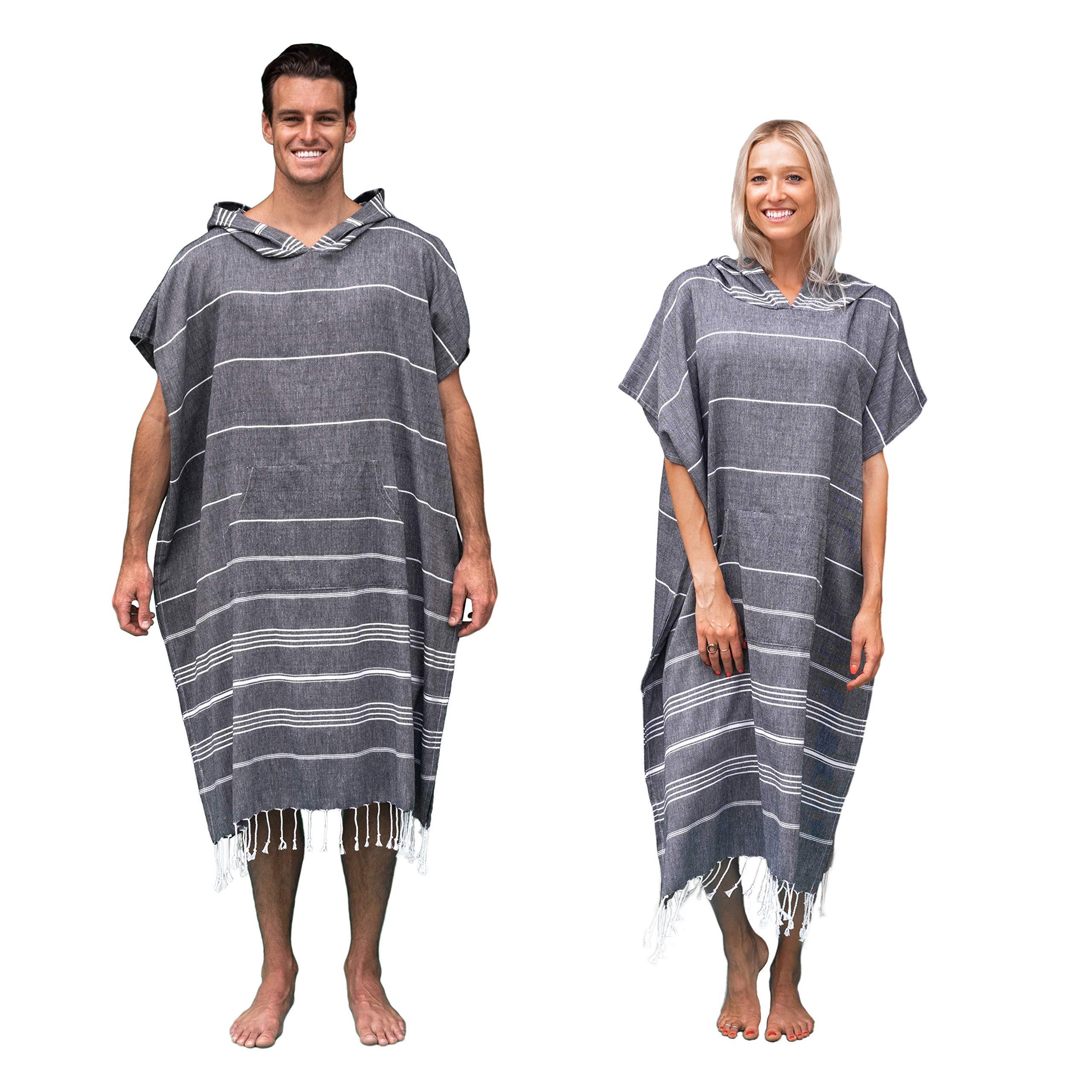 Lost & Leisure Changing Poncho Turkish Towel Robe (Black Sand)