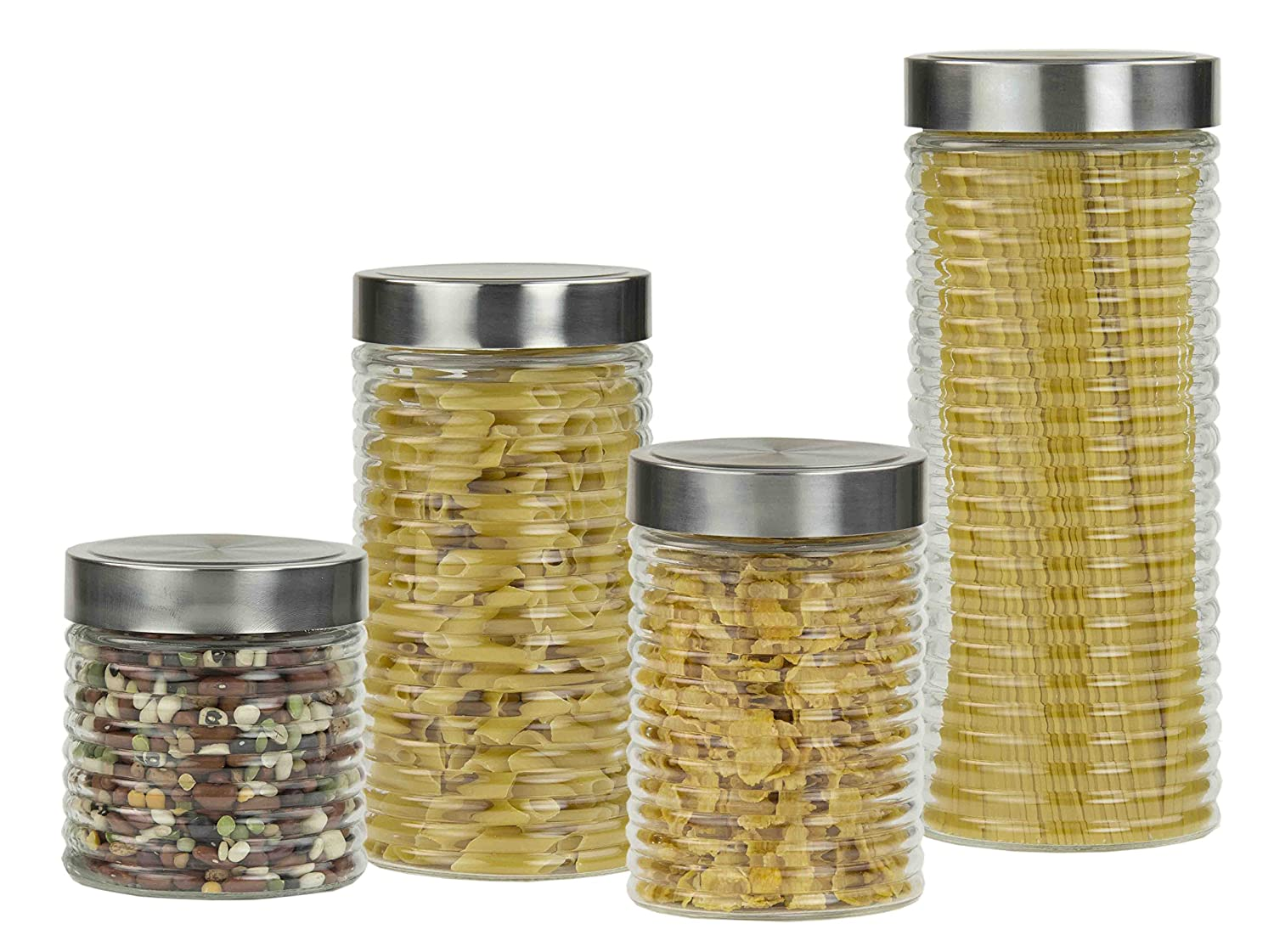 Home Basics Beehive 4 Piece Glass Canister Set with Stainless Steel Air Tight Lids