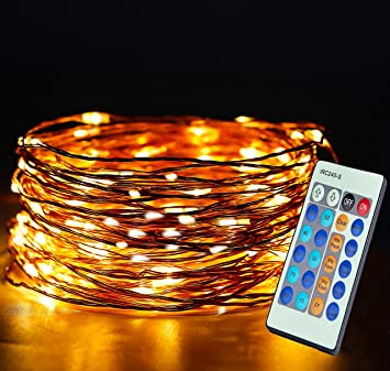 Aolun LED String Lights With Remote,Fairy Lights 33ft 100LEDs,Waterproof  Decorative String Lights