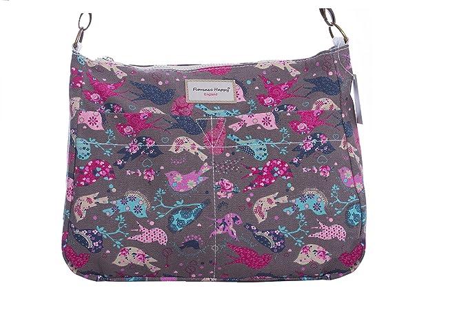 Reversible Messenger Cross Body Canvas Zip Shoulder Bag Floral Owl Spot Rose   Amazon.co.uk  Clothing 0c50ee3815