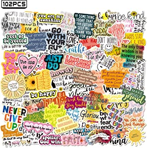 Shuyan Inspirational Stickers Reward Motivational Quote Words 102pcs Positive Hydro Flasks Decals Waterproof Vinyl Guitar Skateboard Laptop Decoration for Teens Adults