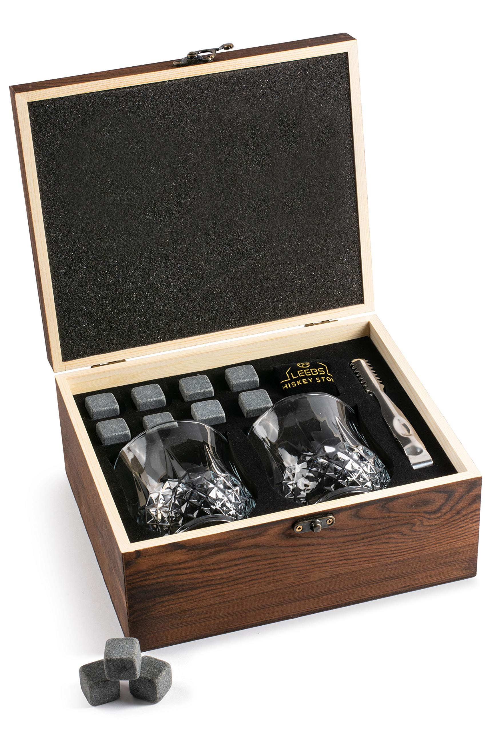 LEEBS Premium Whiskey Stones Gift Set – 2 Large Whiskey Glasses, 8 Granite Scotch Chilling Rocks, Tongs, Velvet Pouch in Elegant Wooden Gift Box Packaging