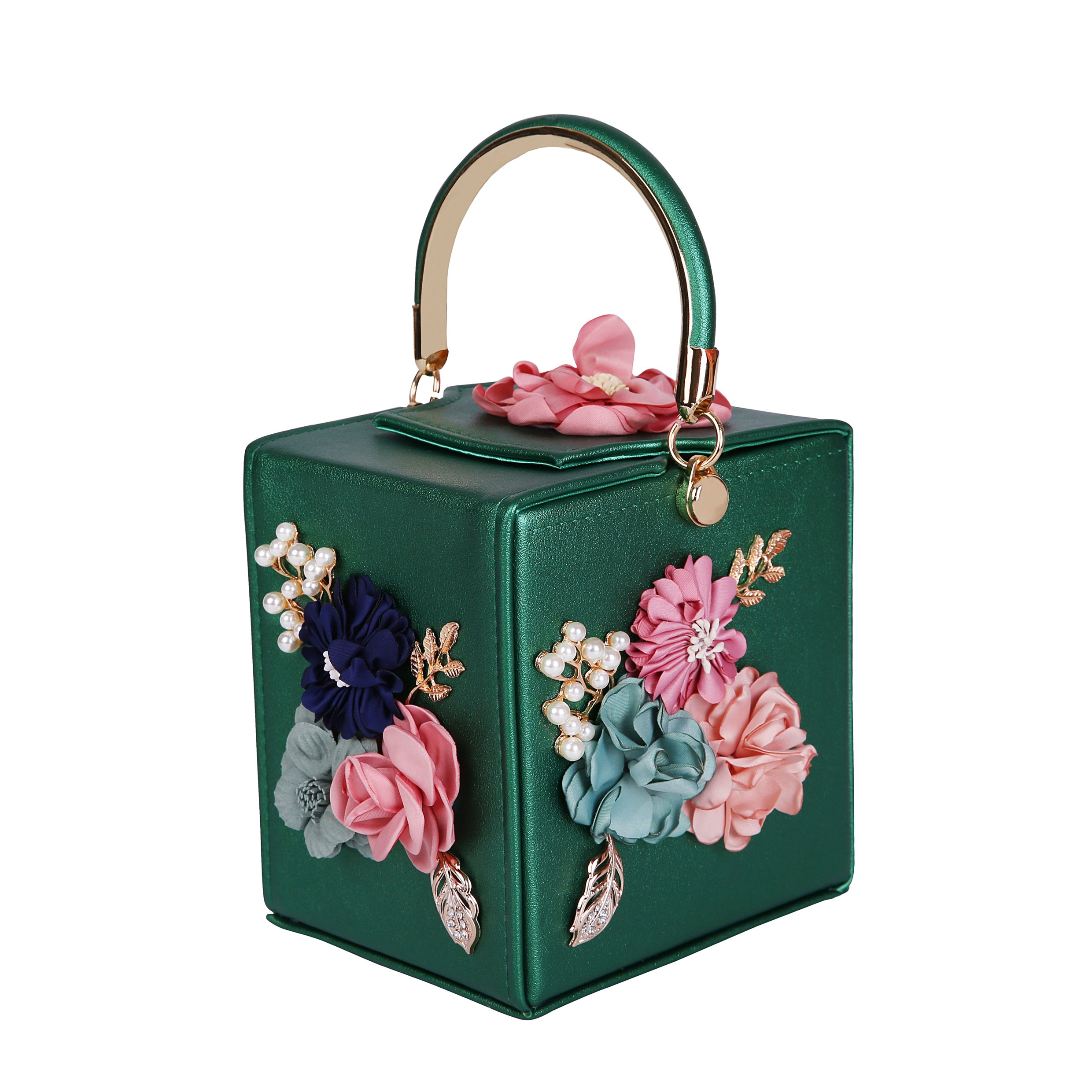 3D Dimensional Flower Evening Clutch For Party (green)