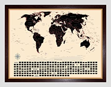 Amazon scratch off world map great travel tracker wall scratch off world map great travel tracker wall decor canvas map professionally designed gumiabroncs Images