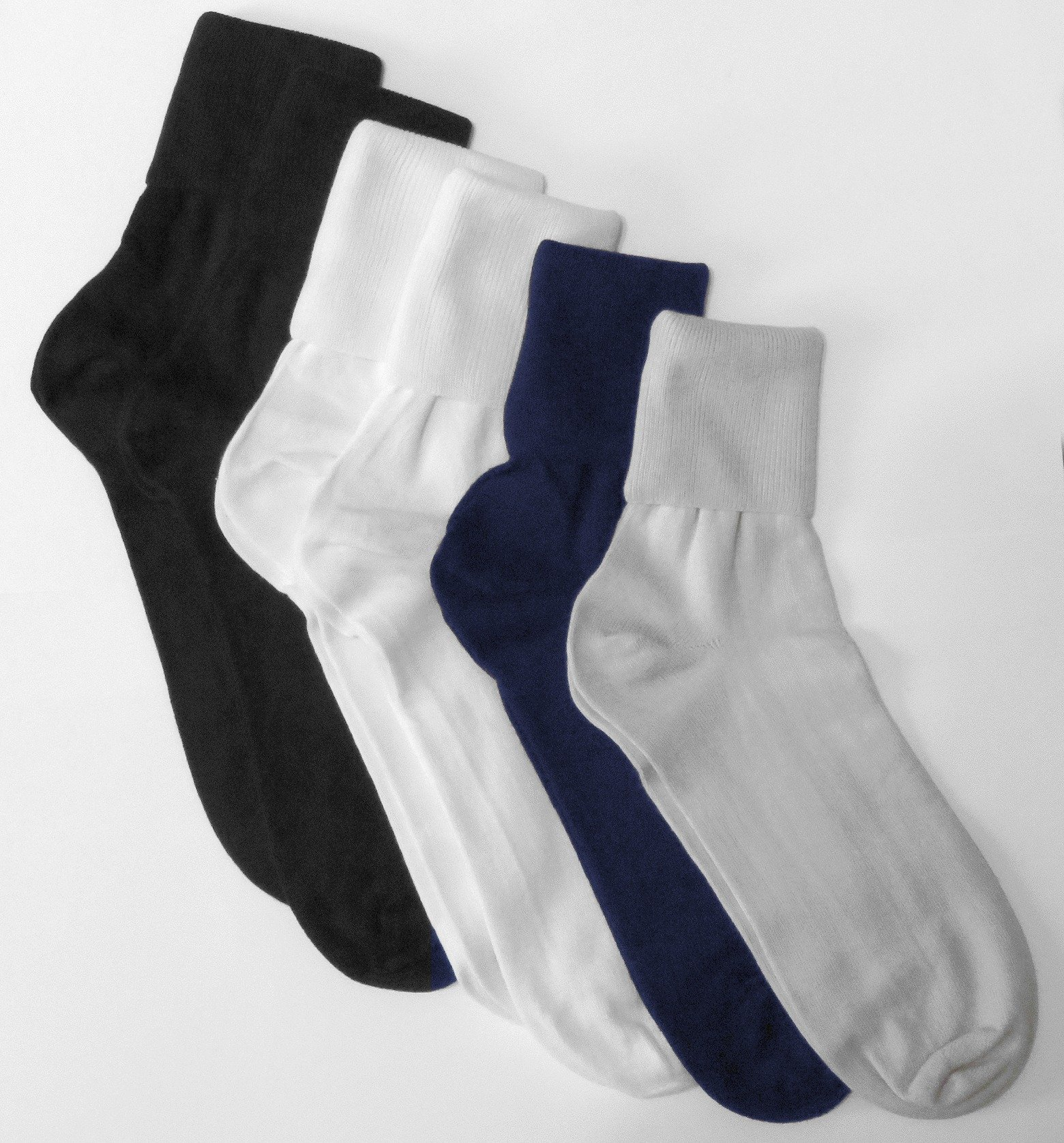 6 Pair Women's Assorted Buster Brown Elastic-Free Cotton Socks - Sock Size 11 - Fits Shoe Sizes 9.5-10.5