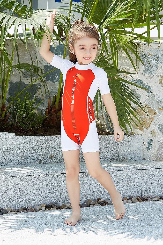 Swimsuit Kids Girls One Piece Short Sleeve UPF 50+Sun Protection Surfing Suits Beach Swimwear 2-7 Years