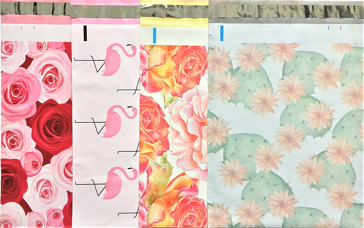 Designer Poly Mailers 10x13 : Unicorn, Pink Hearts, Hibiscus Flower, Watercolor Blossom; Printed Self Sealing Shipping Poly Envelopes Bag Assorted (40 Mix Variety Pack #2) UpakNShip