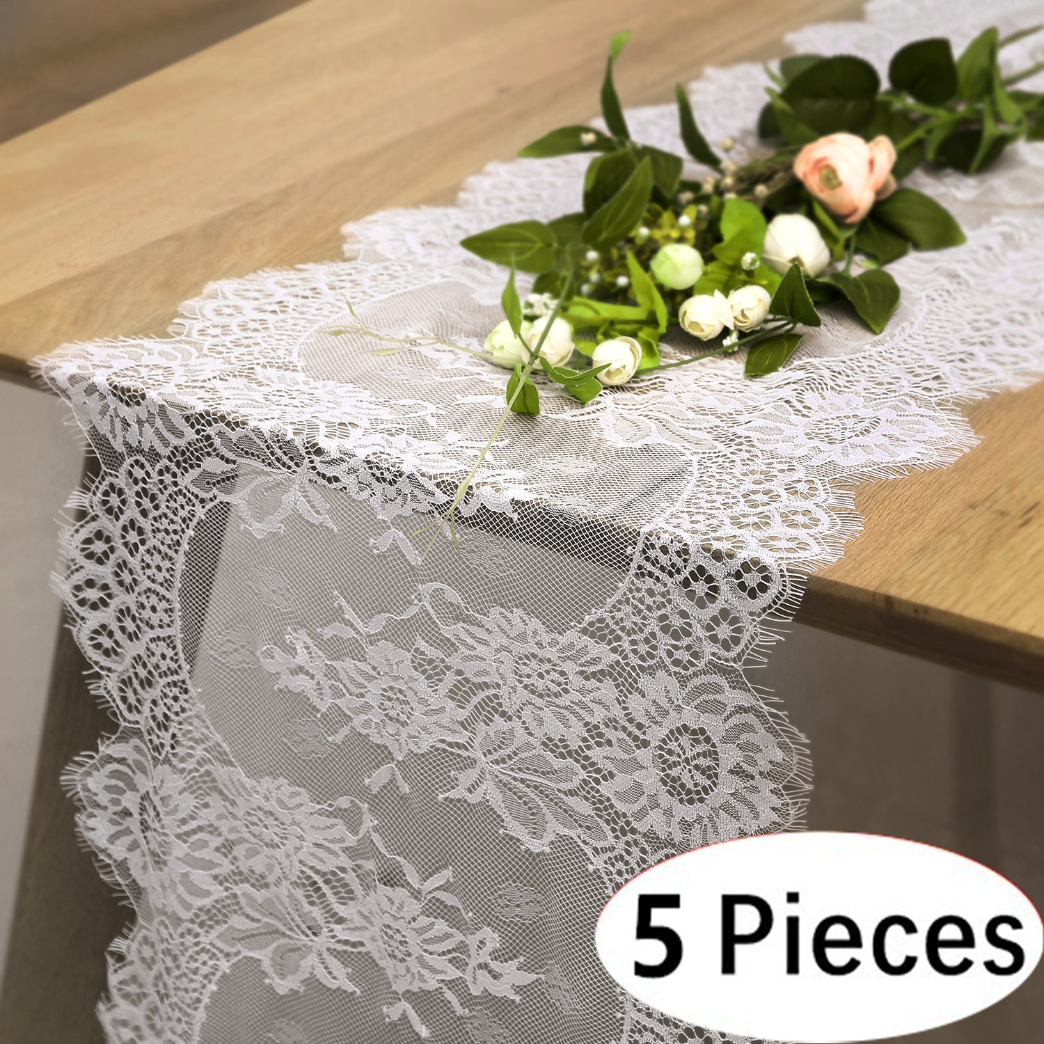 B-COOL Wedding Lace Table Runners 12'' X 120'' Washable Vintage Lace Runners for Party Bridal Shower Baby Shower (5 pieces)