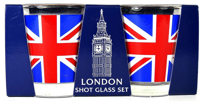 Shot Glasses Lot de verres /à shooter /à bord rond dor/é Motif Union Jack