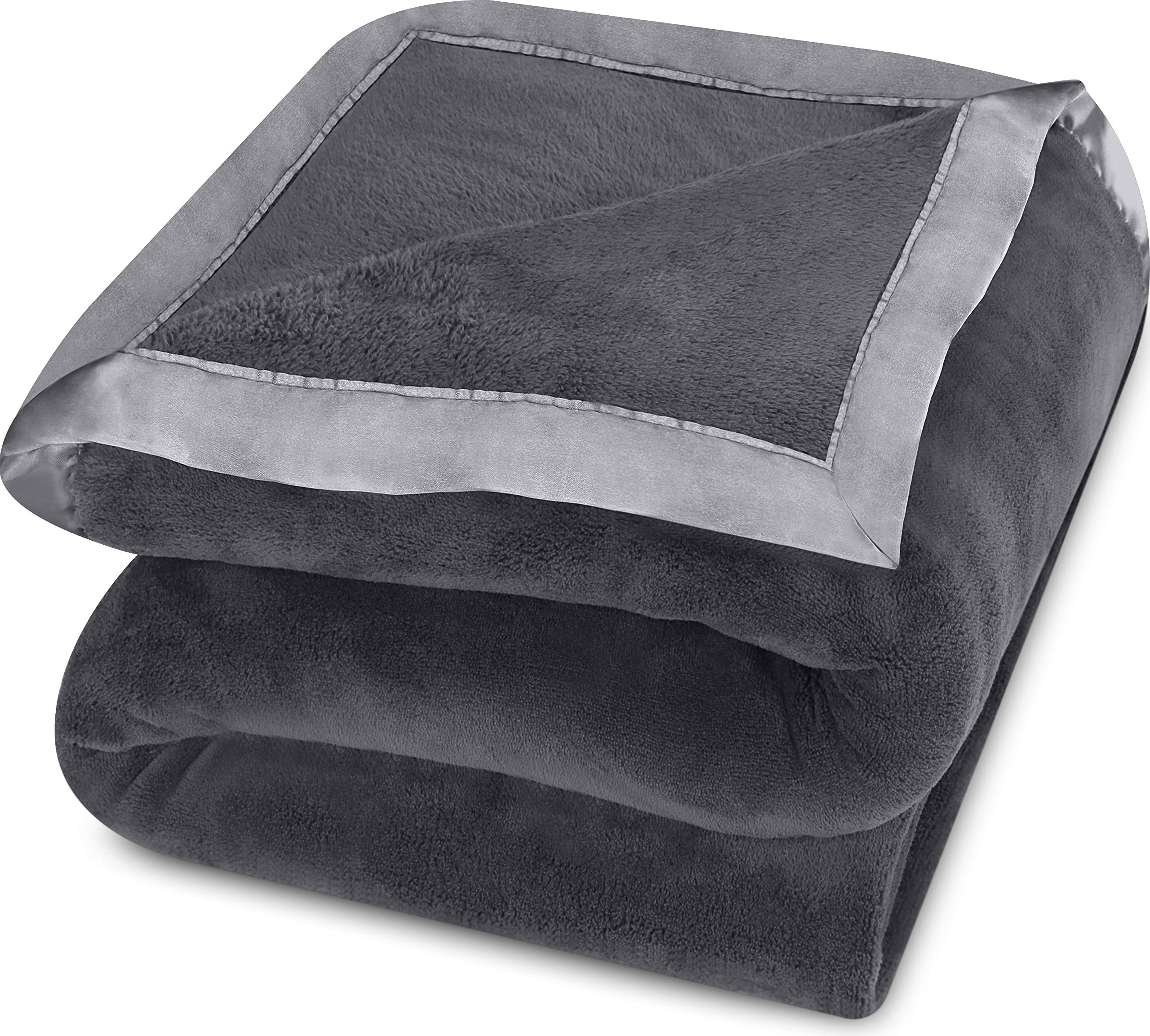 Utopia Bedding Coral Fleece Blanket with Sateen Edges (Grey, King) – Extra Soft Brush Fabric – Super Warm, Lightweight Bed/Couch Blanket – Easy Care