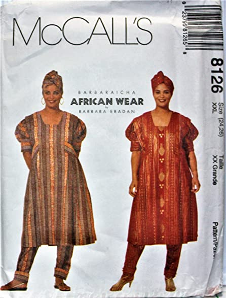 Amazon.com: OOP McCall\'s African Wear Pattern 8126. Misses/womens ...