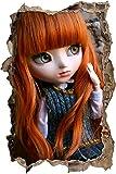 poupée rousse Pullip avec de grands yeux verts mur percée en 3D look, mur ou format vignette de la porte: 62x42cm, stickers muraux, sticker mural, décoration murale
