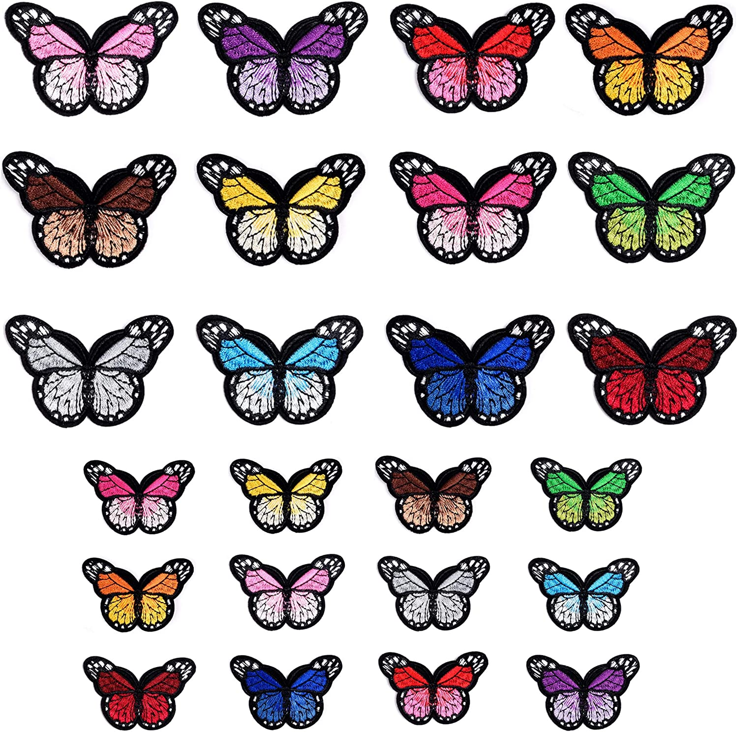 YLY Iron On Patches,Butterfly Patches Embroidered Patches Applique Kit Assorted Styles Decoration Sew On Patches for Clothing,Jackets,Backpacks,Jeans(Butterfly-24Pcs)