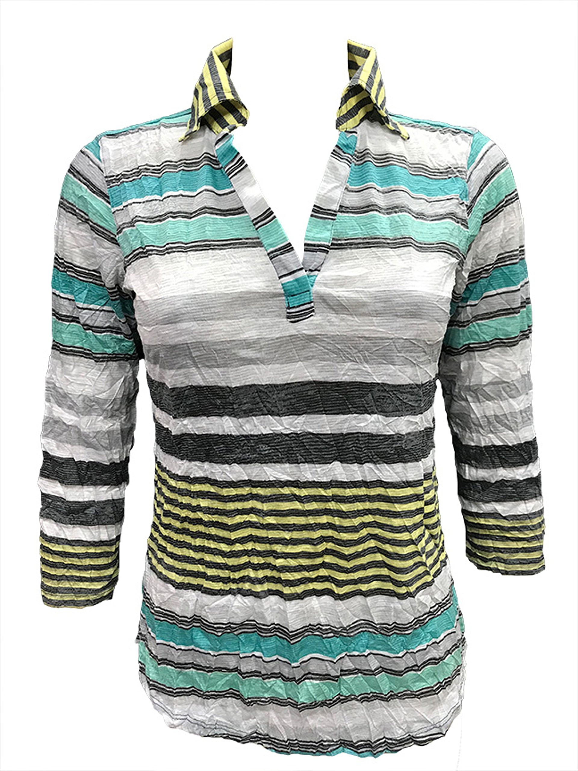 David Cline Woman's Crushed Bold Polo Shirt With 3/4 Sleeves. Super Soft Fabric.