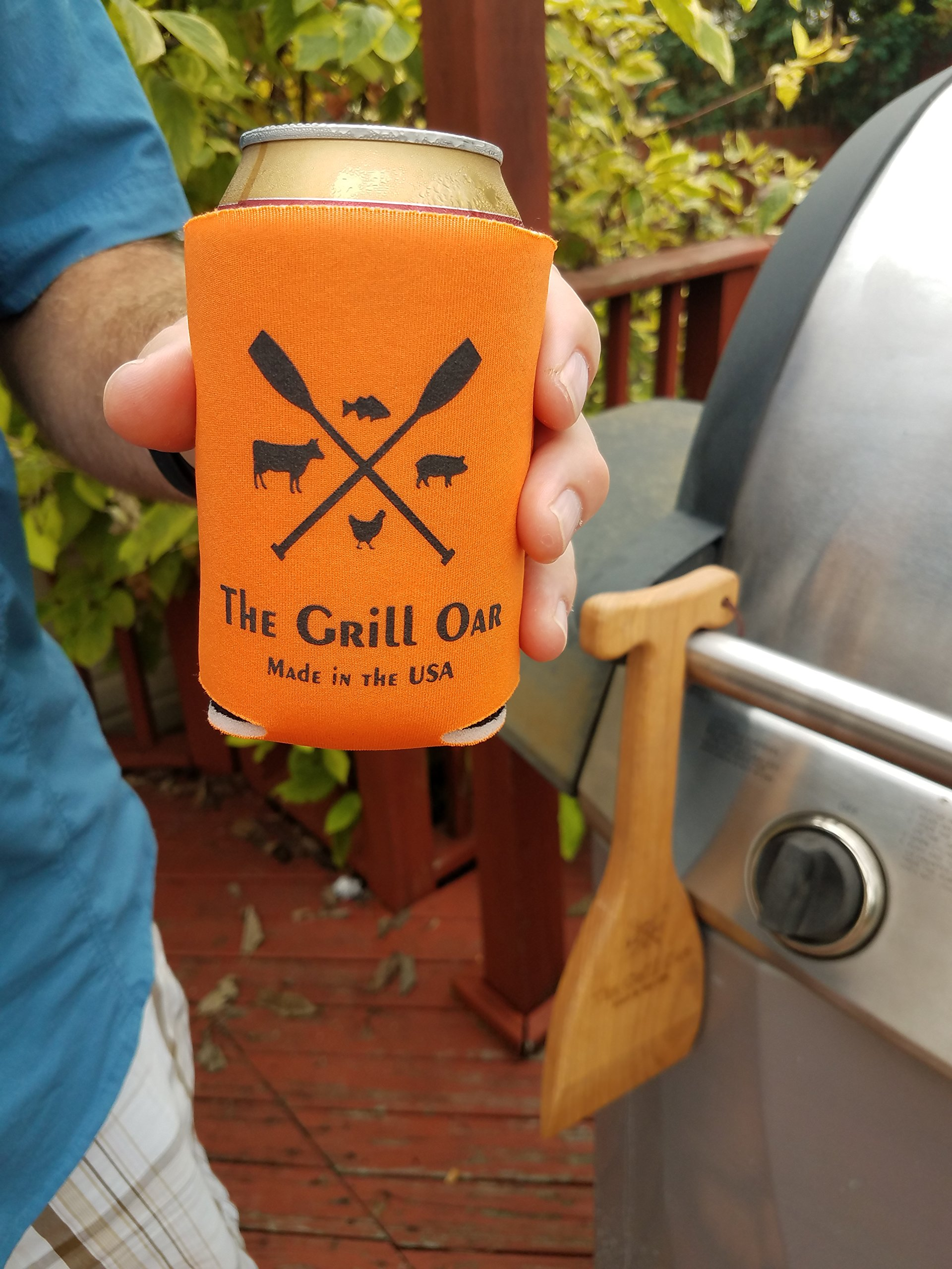 The Grill Oar - Wooden Grill Scraper and Cleaner, Premium Red Oak Wood, Cleans Top and Between Grates, Safe Replacement for Wire Bristle Brush, Made in The USA, Free Koozie Included! by Simply Better (Image #6)