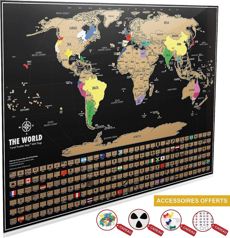 Tarjeta del mundo para rascar XXL ventou – Póster negro y dorada con banderas para rascar (82,5 x 59,5 cm) + Bonus 19 accesorios con 3 Scratcher Map – mapamundi país del