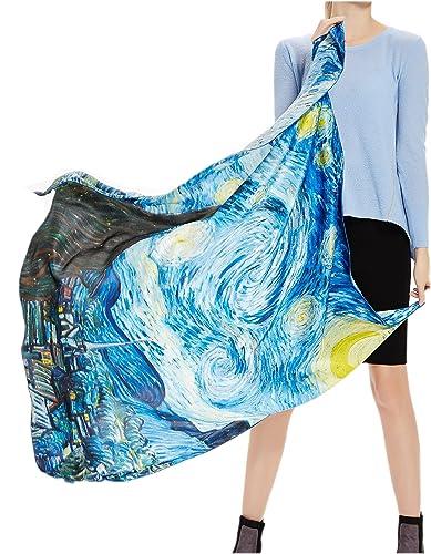 Prettystern - 110cm oversize piazza sciarpa di seta laminati a mano - van Gogh - selezione 5 modello