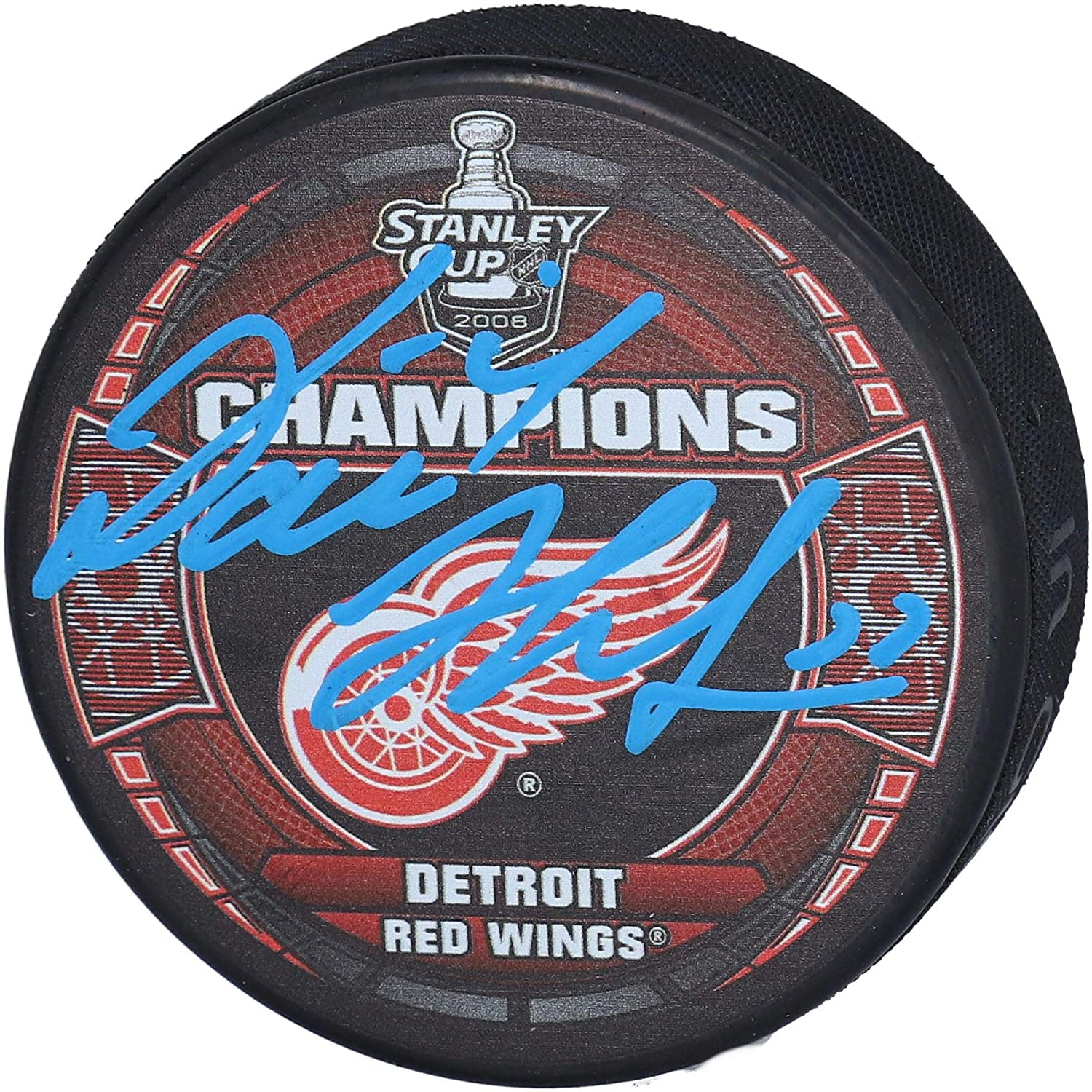 Dominik Hasek Detroit Red Wings Autographed 2008 Stanley Cup Champions Logo Hockey Puck Fanatics Authentic Certified