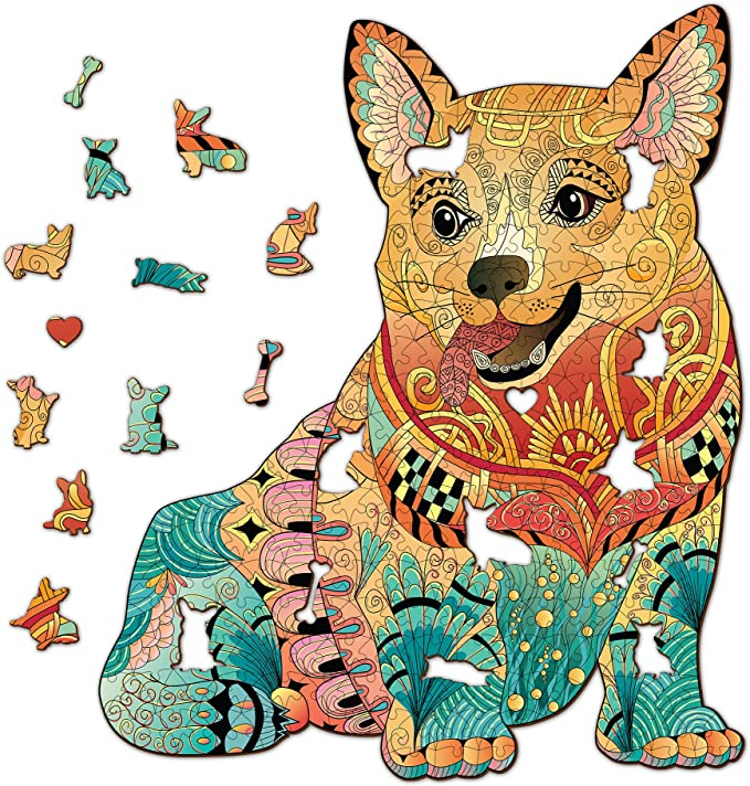 Amazon.com: Corgi Wooden Jigsaw Puzzle 355 Pieces, 14.5 x 17.5 in (36.9 x 44.3 cm) with Unique Shapes for Adults & Kids by WoodGalaxy: Toys & Games